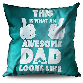 Awesome pappa Cool roliga linne kudde 30 x 30 cm | Wellcoda