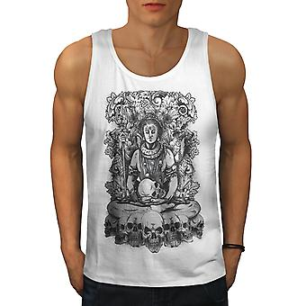 Death God Skull Horror Men WhiteTank Top | Wellcoda