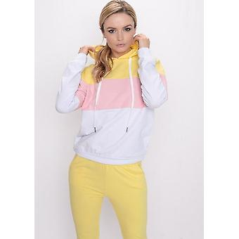 Color Block Stripe con cappuccio Loungewear giallo Set