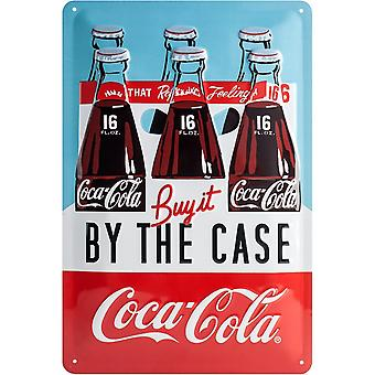 Coca Cola By The Case Embossed Metal Sign 300Mm X 200Mm
