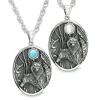 Mutter und Sohn Familie Wolf Set Amulett im Wald Mond Weiße Katzen Auge Türkis Anhänger Halsketten