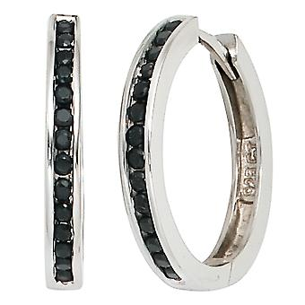 Rhodium-plated hoop earrings with black cubic zirconia 925 Sterling Silver earrings