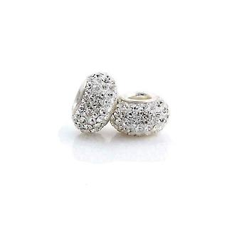 Sterling Silver Crystal Rhinestone Encrusted Charm Bead - for 3mm Bracelets