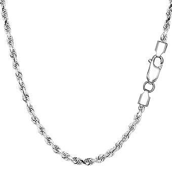 Sterling hopea rodium päällystetty timantti leikattu köyden ketjun kaulakoru, 2,9 mm