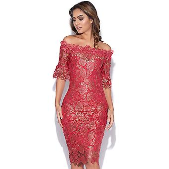Metalen Berry haak Lace Dress
