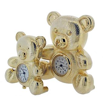 Gift Time Products Bear and Baby Bear Mini Clock - Gold