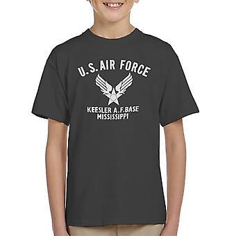 US Airforce Keesler AF Base Mississippi vit Text Kid's T-Shirt