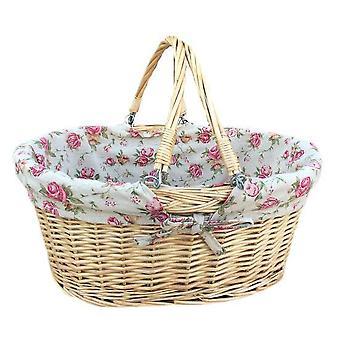 Balanço grande punho Shopper com Rose Garden forro cesta de vime