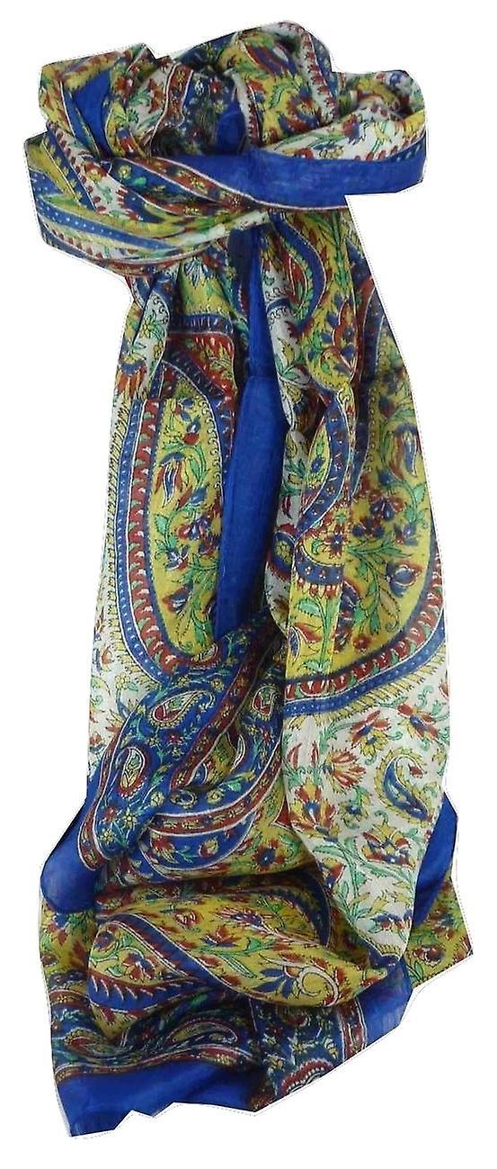 Mulberry Silk Traditional Long Scarf Kaaj Blue by Pashmina & Silk
