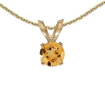 LXR 14k Żółte złoto Okrągły wisiorek cytrynowy 0,18 ct