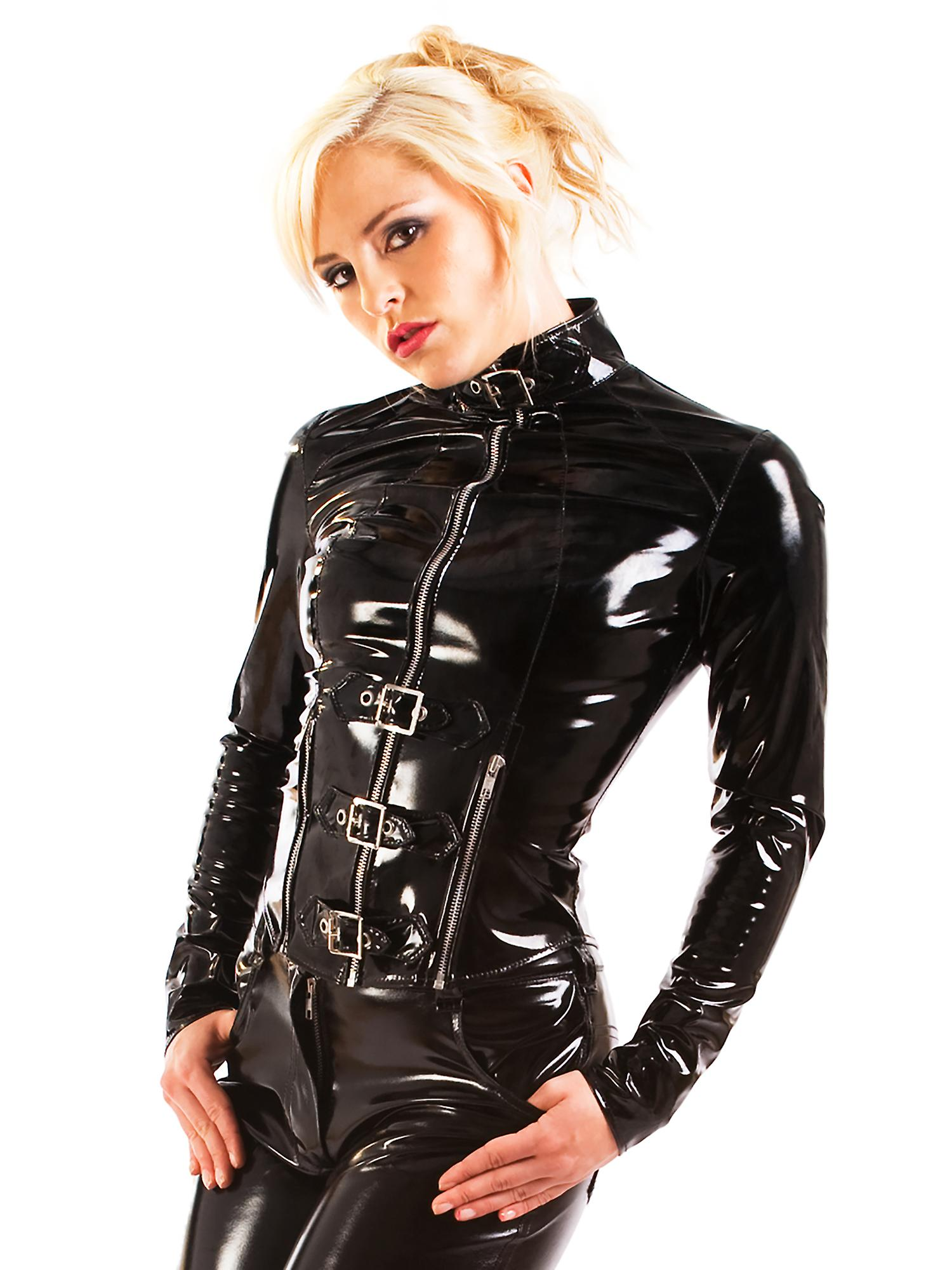 Honour Women's Jacket in PVC Buckle Front Punk Style Roleplay Costume