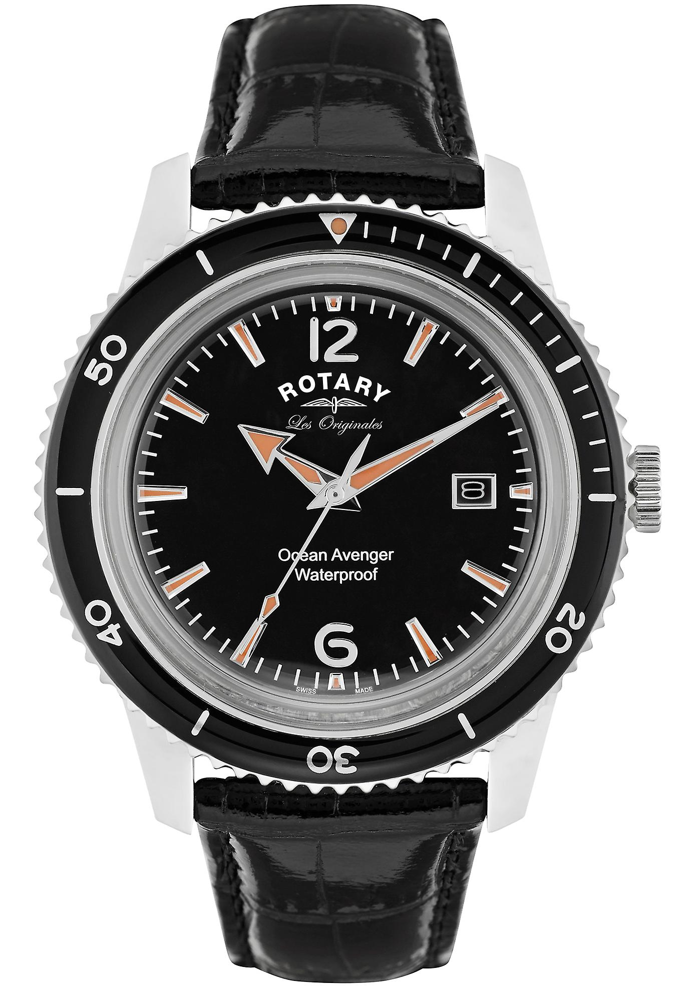 Rotary Ocean Avenger Black Leather Strap Mens GS90095/04 40mm
