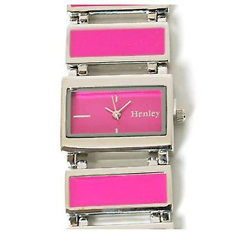 Henley Glamour Ladies Stylish Fuchsia Rectangular Watch