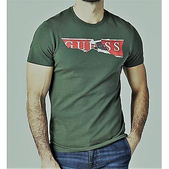 GISSA Grön Rippade Logo T-shirt