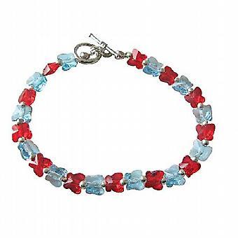 Acquamarina Siam farfalla rossa genuina cristallo Swarovski farfalla artigianalmente gioielli personalizzati
