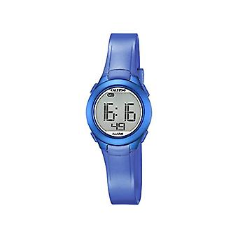 Calypso, clock with digital display, LCD display K5677/5, and blue plastic strap unisex