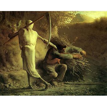 Død og tømmerhugger, Jean Francois Millet, 50x40cm