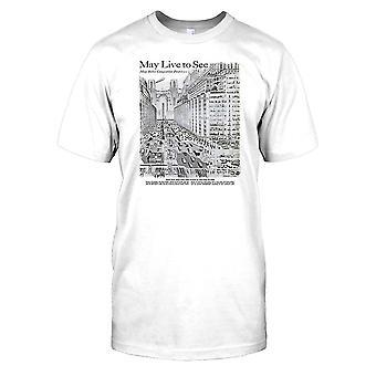 1950-luvun tulevaisuus kaupunki-viileä retro Sci Fi Miesten T-paita