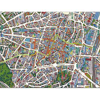 Stadsbilder Street karta över Nottingham 400 bit pussel 470 x 320 mm (HTF)