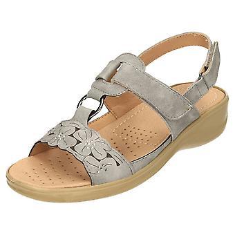 Cushion-Walk Grey Open Toe Wedge Heel Comfort Sandals Slingback