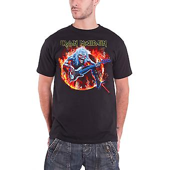 Iron Maiden Mens T Shirt Black Fear Live Flames band logo official new