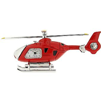 Miniature Helicopter Novelty Silver & Red Tone Collectors Clock