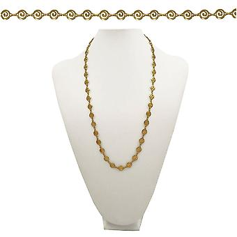 Eternal Collection Grecian Round Greek Key Link 26 Inch Gold Tone Necklace