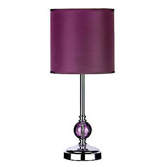 Premier Home Chrome Table Lamp - EU Plug, Chromed Fabric, Purple