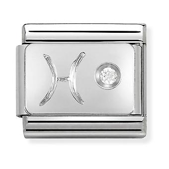 Nomination Classic Pisces Zodiac Steel, CZ and 925 Silver Link Charm 330302/12