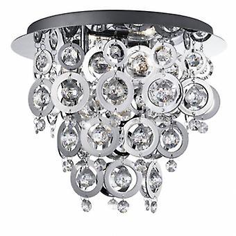 3 Light Flush Ceiling Light Chrome