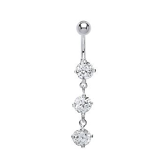 Jewelco London Surgical Steel Round Brilliant Cubic Zirconia Trilogy Drop Belly Bar With Silver Ball