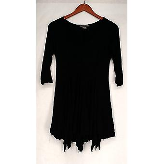 Kate & Mallory Top 3/4 Sleeve V-Neckline w/ Multi Panel Layers Black A431603