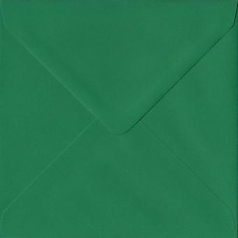 Xmas Green Gummed 155mm Square Coloured Green Envelopes. 100gsm FSC Sustainable Paper. 155mm x 155mm. Banker Style Envelope.