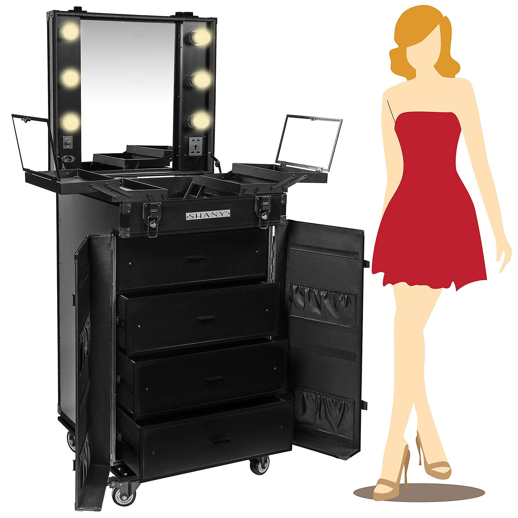 SHANY Light-Up Makeup Mirror Station and Storage - Rolling Cosmetics Case with Multiple Compartments with Light Bulbs Inclus