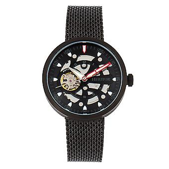 Heritor automático Jasper Watch pulseira esqueleto-preto