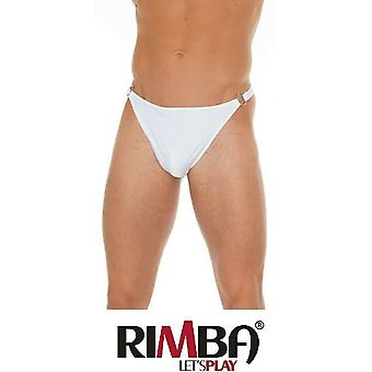 'Rimba Lingerie' Mens White G-String With Metal Hoop Connectors (R1933