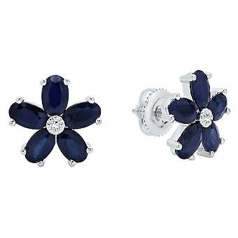 Dazzlingrock Collection 10K Oval Cut Blue Sapphire & Round Cut White Diamond Ladies Flower Shape Stud Earrings, White Gold