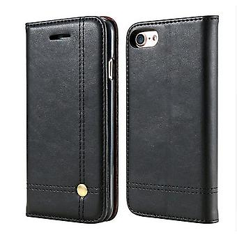 Iphone 7+/8+ Plus 5.5 Retro Ledertasche Schwarz