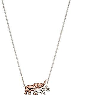 Elements Silver Rose Gold Plated Mum Elephant  & Silver Baby Necklace N4365