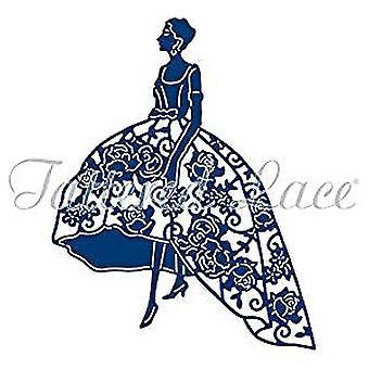 Lambeaux dentelle duchesse Dame en robe à fleurs, matrice de découpage en métal D1040