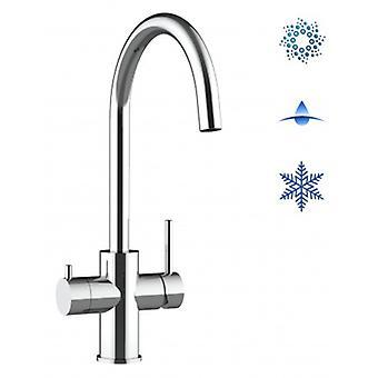 5-vägs filter Tap-två handtag diskbänk blandare med hög svängbar pip för vatten filter system-polerad-341