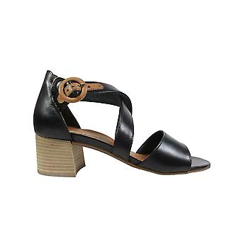 Paul Green 7404-00 Black Leather Womens Heeled Strapy Sandals