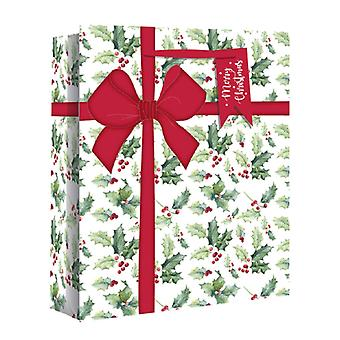 Eurowrap Wide Gusset Christmas Gift Bags with Holly Parcel Design (Pack of 12)