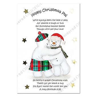 Brodert originaler Happy Christmas PAL snowman julekort