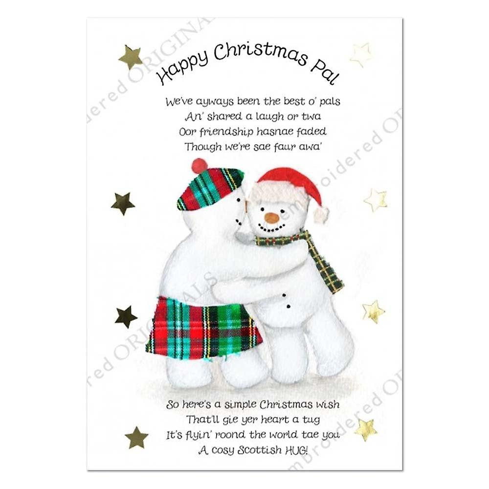 Embroidered Originals Happy Christmas Pal Snowman Christmas Card