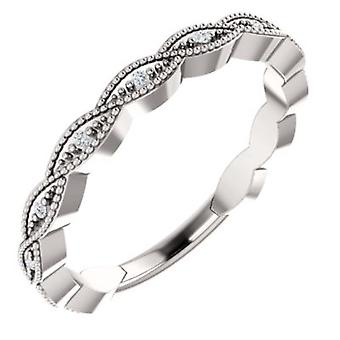 14k White Gold Size 7 Polished .05 Dwt Diamond Anniversary Band Ring Jewelry Gifts for Women