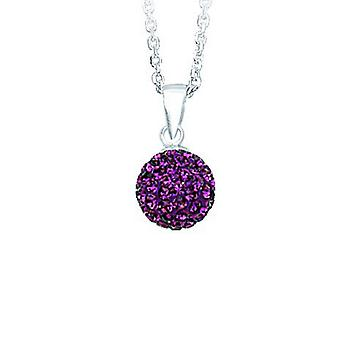 925 Sterling Silver Rhodium Plated Adjustable 10mm Crystal Ball February Necklace 18 Inch Jewelry Gifts for Women