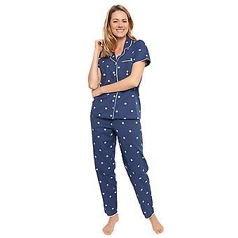 Cyberjammies 1359 Kvinnor's Nora Rose Ellen Navy Blue Randig bomull broderad vävd pyjamas set