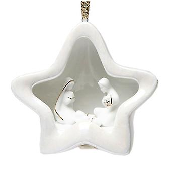 Star Dome With Holy Nativity Christmas Tree Ornament Porcelain