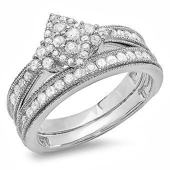 Dazzlingrock Collection 0.80 Carat (ctw) Sterling Silver Round Diamond Ladies Bridal Ring Set 3/4 CT